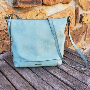 Fossil robins egg blue Pebble leather purse